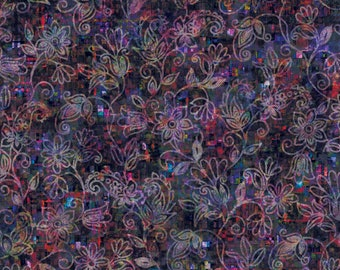 RJR Arcadia Fabric - Glistening Vines - Midnight Digiprint Fabric - RJ805-MI1D Midnight purple - Priced by the 1/2 yard