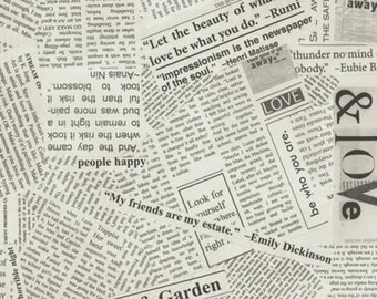 Newsprint Fabric - Text Fabric - Story - Carrie Bloomston - Windham 36530B 5 Cream - Priced by the 1/2 Yard