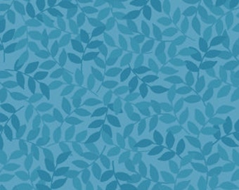 Harmony Blender Fabric - Leaf Fabric by Quilting Treasures 24777 QB Chambray Blue - Priced by the 1/2 yard