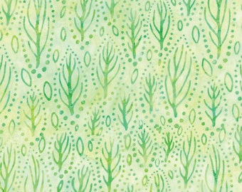 Sea Forest, Seaweed, Light Green Batik Fabric - Catalina Batik for Moda Fabrics - Tropical 4329 34 - EOB 18-inch