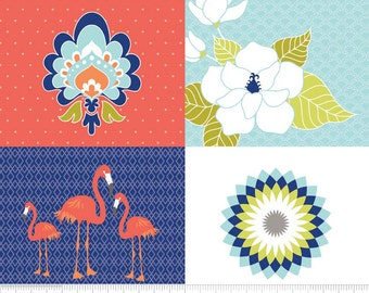 Flamingo / Floral Fabric - Lula Magnolia by Quilted Fish for Riley Blake Designs P3772 Blue - 36-Inch Panel - Pillow Panel