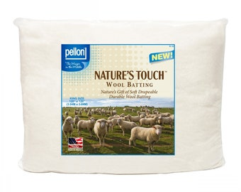 Wool Batting - Pellon Natures Touch - 100% wool (reinforced with light scrim) - King Size 120-inch square