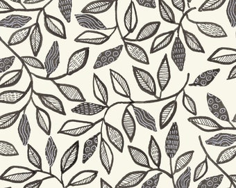 Farah Flowers by Crystal Designs for P&B Textiles -  Vine Leaf Black White  FAFL-4189 K - Priced by the 1/2 yard