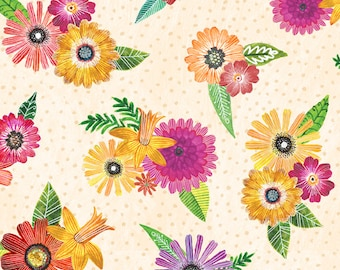 Floral Flight - Flower Bouquets - Spring Posy - MJ Merrill  Wilmington Prints - 11156 137 Cream - Priced by the half yard