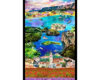 Croatia - Village and Boat Harbor View Panel- Ro Gregg - Paintbrush Studio - 120 99600 - Priced by the 24-Inch Panel