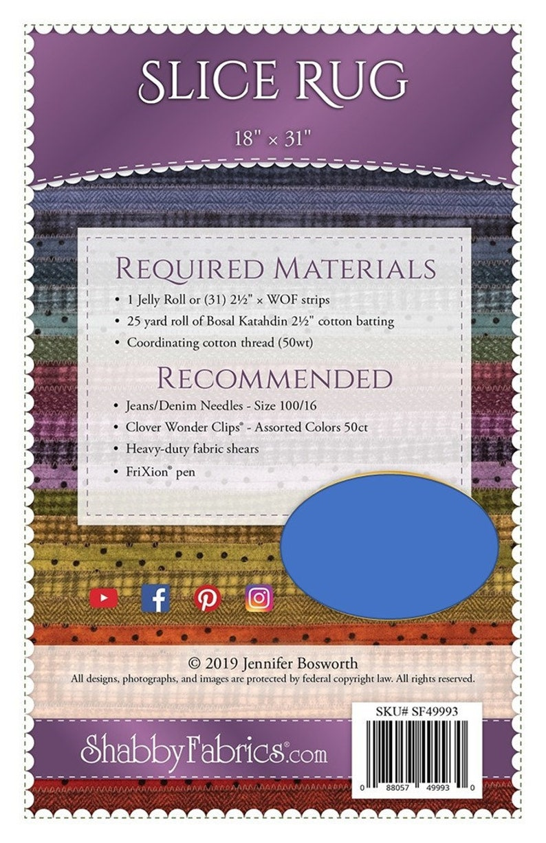 Half Oval Rug - 18x31 finished rug Jelly Roll Rug Instructions /& Template Shabby Fabric SF49993 Slice Rug DIY Pattern