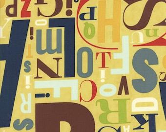 Alphabet Fabric -  Social Club  Metro Typeface Alphabet Letters - Comstocks - Moda Fabrics Jazz Yellow 37094 16 - Priced by the 1/2 Yard