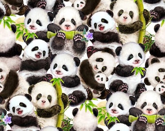 Panda Sanctuary - Packed Panda by Kayomi Harai for Studio e Fabrics - 5269 1 White - Priced by the half yard