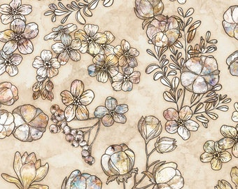 QT Fabrics Couture Floral Fabric - 27864 A Oatmeal Beige - Priced by the half yard