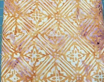 Geometric Floral Batik Fabric - Artisan Indonesian from Majestic Batiks - D285 W  - Tan Light Blue Priced by the 1/2 yard