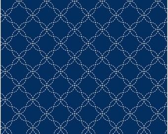 Kimberbell Basics - Lattice work - Kimberbell Designs  - Maywood Studio 8209 N Dark Blue - Priced by the half yard