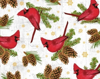 Snow Cardinals Metallic - Comfort & Joy by Whistler Studios Collection - Windham 51885M - Priced by the 1/2 yard