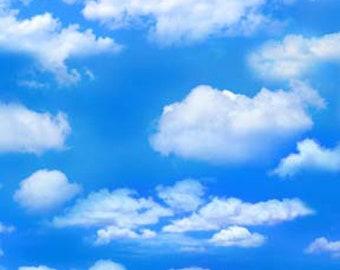 Cloud Fabric - Sky Fabric - Landscape Medley - Elizabeth Studio - 369 Dark Blue - White Clouds - Priced by the half yard