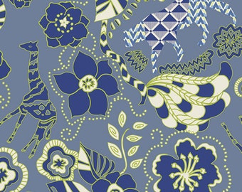 Animal Floral Fabric - Wild Life Cavern from Safari Moon by Frances Newcombe for Art Gallery SFR 6700 Blue - Priced by the 1/2 yard