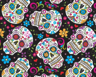Folkloric Sugar Skulls - Day of the Dead Theme by David Textile 28882 C3 Black -  Priced by the 1/2 yard