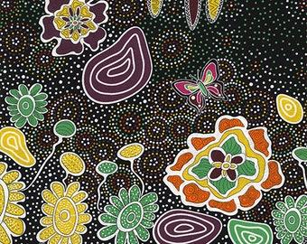Australian Fabric - Summertime Rainforest black - Aboriginal Fabric - by Heather Kennedy - Priced by the half yard
