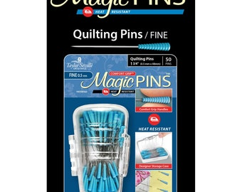 Quilting Pins - Magic Grip, Heat Resistant, Comfort Grip - 1-3/4-inch Fine .5mm x 48mm - 50ct  - Taylor Seville 19560