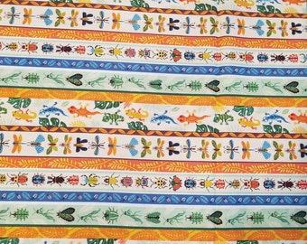 Bug Stripe - Pictorial Stripe Border - Beetlemania Helen Dardik for Clothworks - Y2641 55 multi - Priced by the 1/2 Yard