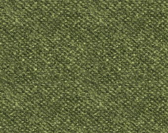 Woolies Flannel Fabric - Light Texture Printed Nubby Tweed - Faux Wool - by Maywood Studios Green F18507 G - Priced by the 1/2 yard