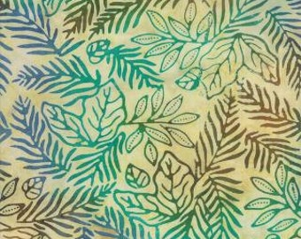 Leafy Batik Fabric -Color Crush Tropical Sand 4327 43 Moda Batiks - Priced by the 1/2 yard