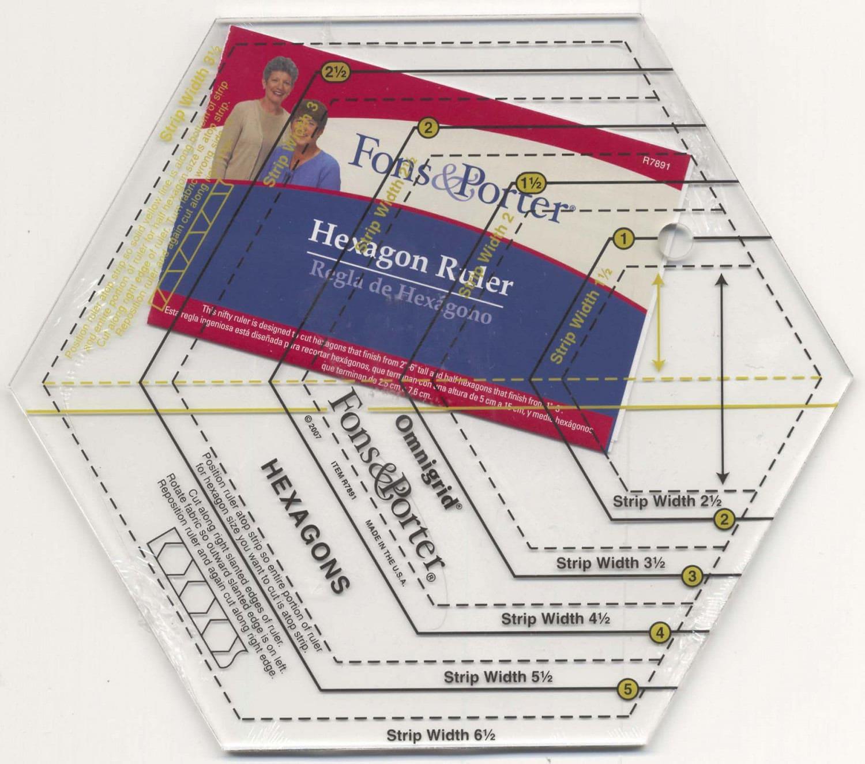 fons porter hexagon ruler hexagon template includes a sample