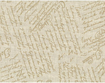 Linen Fabric - Painted Tan Writing Fabric 100% Linen by Stof A/S ST15 211 V10 - choose size by half yard or fat quarter