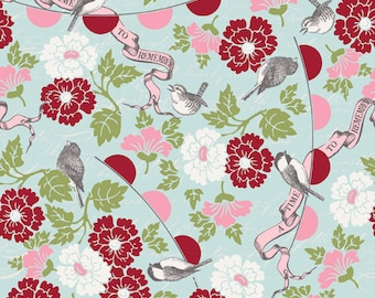 Floral Fabric - Bird Fabric - Remember by Carina Gardner for Riley Blake Designs C3210 Blue - Priced by the 1/2 yard