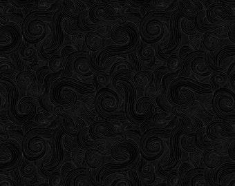 Just Color - Black Swirl Color Tonal Fabric - Studio E E60 1351 ONYX  Black - Priced by the half yard