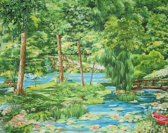 Summer Day - Summer Landscape - Cypress Garden - Water Lily - Landscape Collection Michael Miller DC 4169 - Priced by the YARD