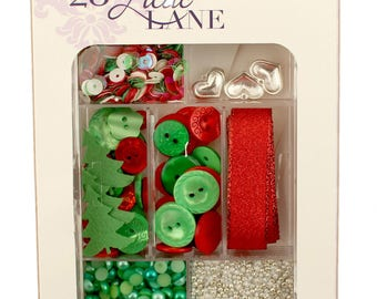 Embellishment Kit, Buttons Galore, Ribbon & Buttons - Holly Jolly 28 Lilac Lane by May Flaum LL111