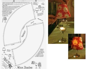 Wine Glass Lampshade Panel - Pre-printed Fusible Interfacing from QuiltSmart QS40001 - DIY Project - home decor - party favor