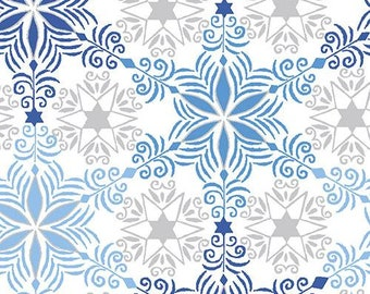 Snowflake - Blue Holiday - Paintbrush Studio 72371 Blue - Priced by the half yard