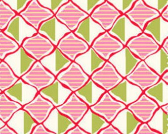 Closeout - Diamond Fabric, Geometric Fabric - Nine Dots Pink Green by Carrie Nelson for Henry Glass 5476-22   - Priced by the YARD