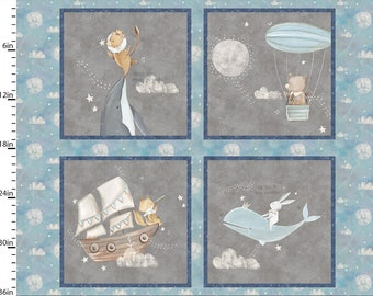 Adventures in the Sky Dream Fabric - Pirate Whale Bear Fox - 3 Wishes Fabric by Bianca Pozzi 14653 Gray Blue - 36-Inch panel