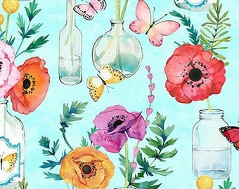 Northcott April Showers - Flower Vase - Heatherlee Chan for Northcott Studio - 22591 61 Blue - Priced by the Half Yard