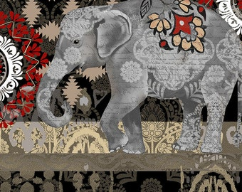 Elephant Fabric - India Fabric - Suzani Caravan Elephant by Ruth Levison for Timeless Treasures C4711 Black - Priced by the half yard