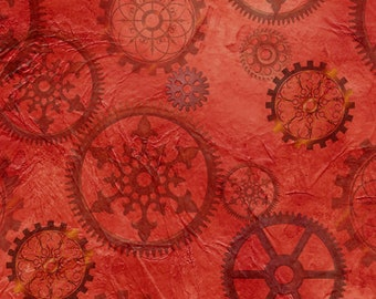 Aquatic Steampunkery - Gears - Desiree Designs for QT Fabrics - 27772 R Red- Priced by the half yard