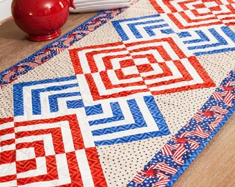 """Glory in the Cabin - Log Cabin Table Runner - Patriotic Pattern - Summertime - DIY Kit - 22""""x56"""" - Complete"""