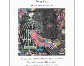 "Bird Collage - Laura Heine - Applique Quilt - Songbird Caged Bird Pattern 30""x30"" - DIY Pattern Or Kit Option - full size reusable template"