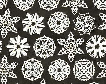 Snow Sweet Paper Snowflakes Fabric - Snow Sweet by J. Wecker Frisch for Riley Blake - C9668 Charcoal - Priced by the Half ard