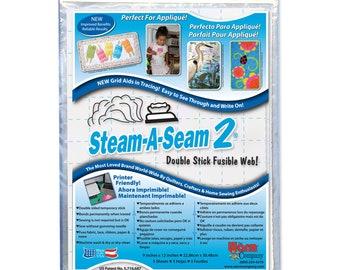 Steam A Seam 2 Warm Company double stick fusible web - Medium weight - Precut Sheets 9x12 inch, 5 per pack - 5517 White - Applique