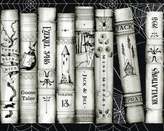 Goosetales by Janet Wecker Frisch - Nursery Rhyme Tales - Book Border -  Riley Blake C9392 - Priced by the Half Yard
