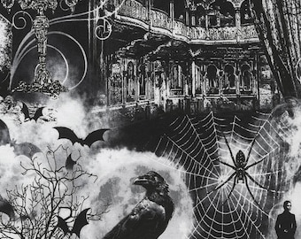Gothic Halloween Fabric - Wicked Haunted House, Haunted Theatre for Timeless Treasures c5249 Black - Priced by the half yard