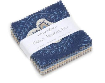 Grand Traverse Bay, Water and Sand Fabric - Candy Mini Charm Set by Minick & Simpson for Moda Fabrics 14820 MC - 2-1/2 Inch Squares