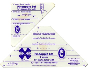 """Pineapple Template Set by Marti Michelle - Finished 1-1/4"""" strips - 8231 - 2-Piece Acrylic Rulers & Instructions"""