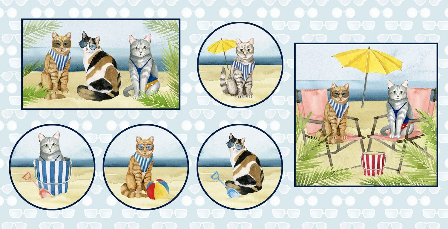 1 Yard Of Beach Cats 100/% Cotton Fabric By Coastal Kitty Collection Bathing suit