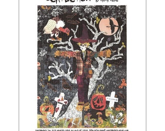 """Scarecrow -  Laura Heine - Applique Quilt -   DIY Pattern Or Kit Option - 25"""" x 35"""" full size reusable template pattern"""