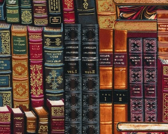 Classic Book Fabric - Library Book Spines on a Shelf by Timeless Treasures CM 8214-Multi - Priced by the Half yard