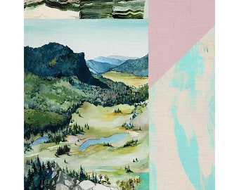 """Paintbrush Studio - Promised Land Modern Landscape by Noelle Phares 21518 - ~35""""x44""""  Priced by the Panel - Quilt Kit Option Available"""