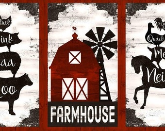 Farm House Panel, Barn Animal, Triptych Panel - Homestead by Jennifer Pugh for Wilmington Prints 82532 319 - Priced by the 24-inch panel